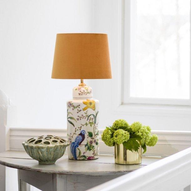 Lampefod i keramik med blomster