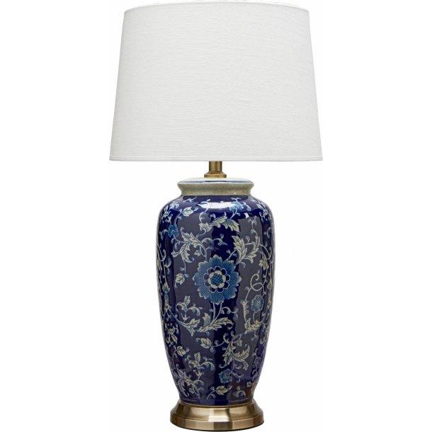 Bordlampe med inspiration fra kinesisk porcelæn - incl. skærm