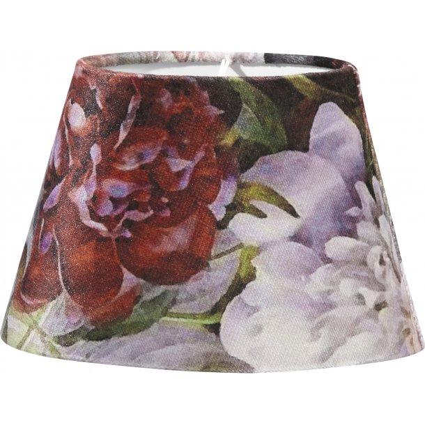 Lampeskærm - oval med fantastisk blomsterdekoration