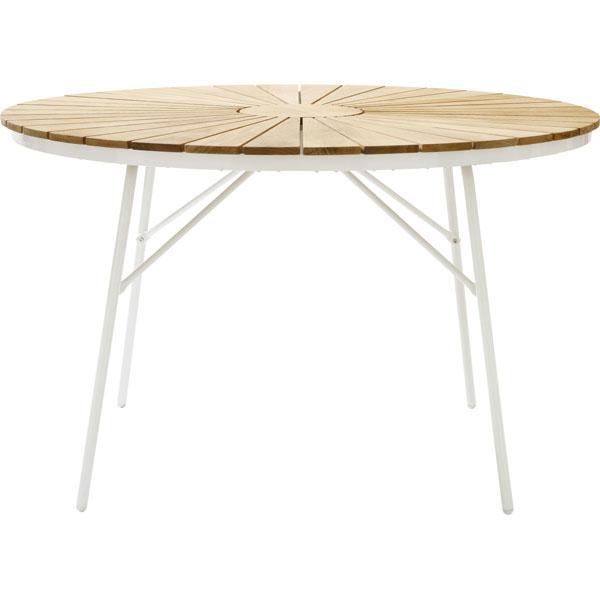 Havebord - rundt - teaktræslameller Ø150 cm - smukt retro havebord med teaktræslameller - smukke ...