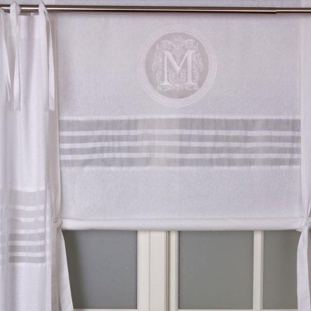 Foldegardin - med monogram - hvidt - 180 cm