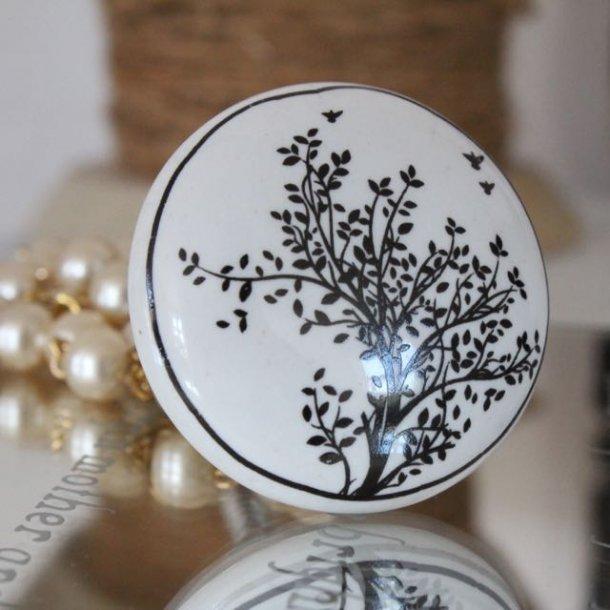Knop med fint træ - hvid porcelæn