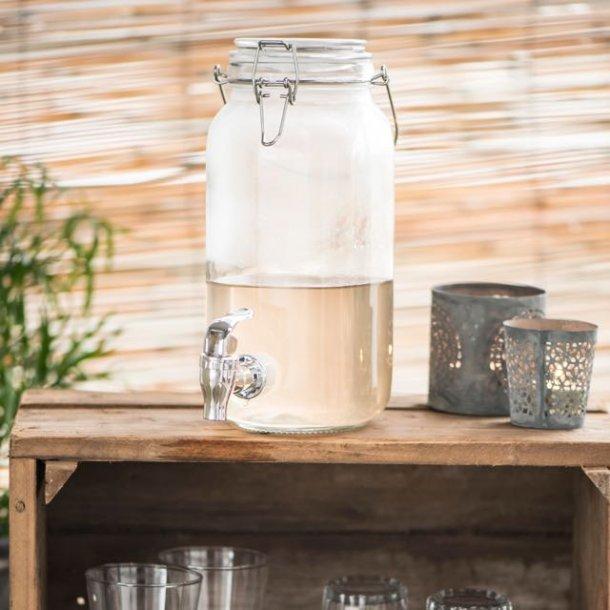 Glasbeholder med tappehane (2 liter)