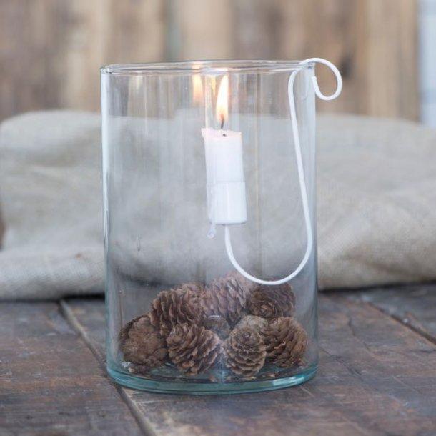 Lysholder i hvidt metal til glasstager