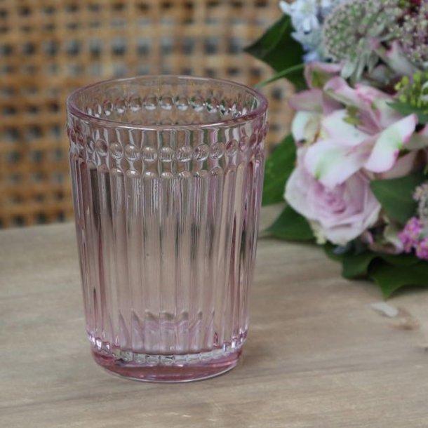 Glas med perlekant - rosa