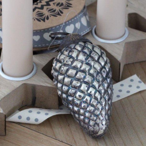 Aflang julekugle - grå patina - brun top