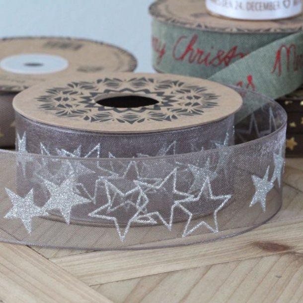 Bånd - mocca med sølvstjerner - 10 meter