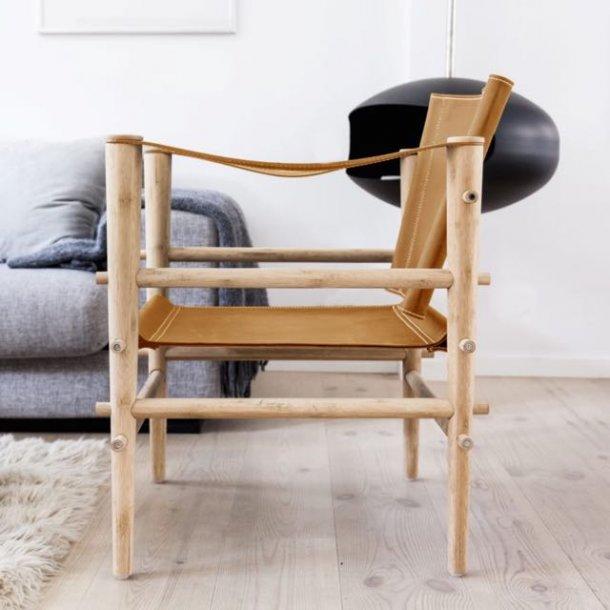 Noble safari stol - cognac læder
