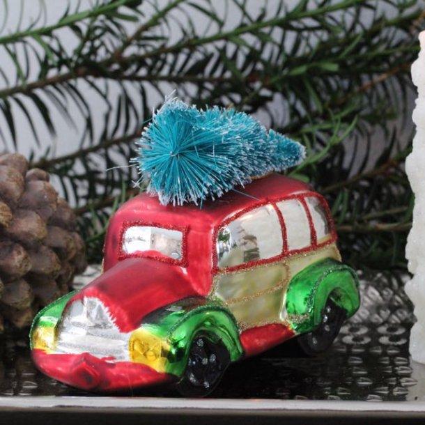 Bil med træ på taget - glaskugle