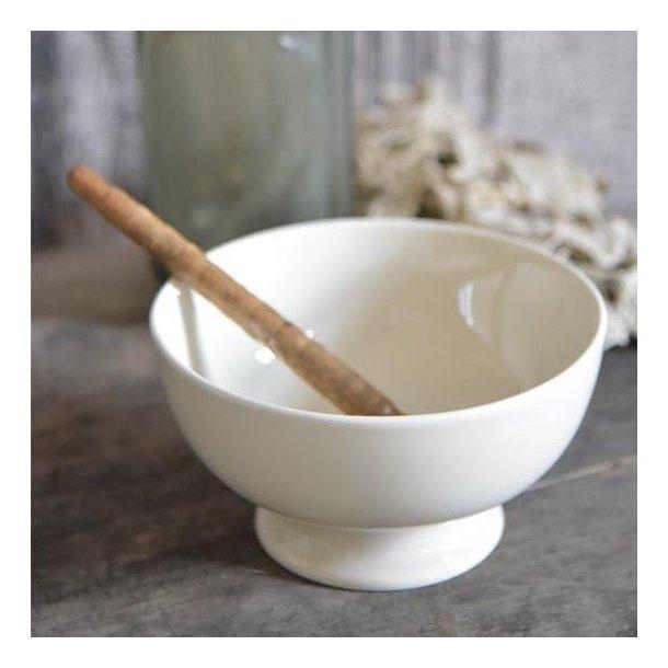 Skål i cremehvid porcelæn - mellem - med patina