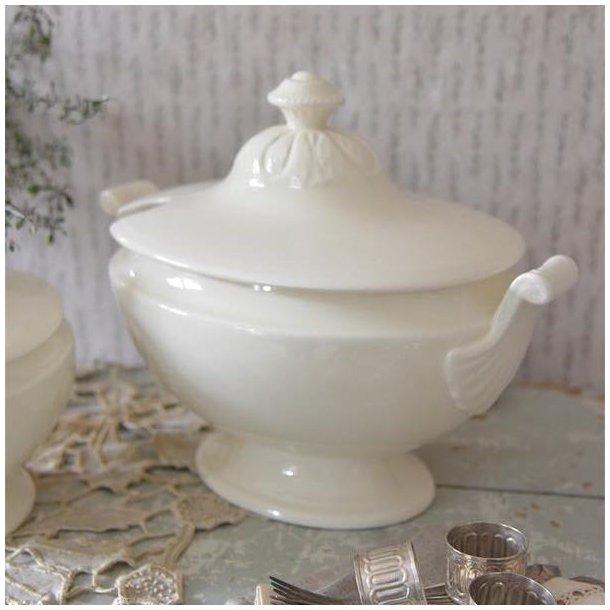 Terrin - oval - i cremehvid porcelæn