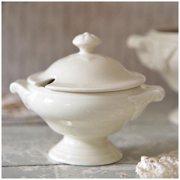 Terrin - lille - i cremehvid porcelæn - m/ patina