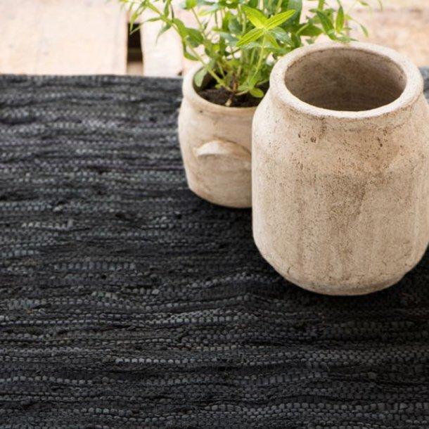 Gulvløber i læder - sort