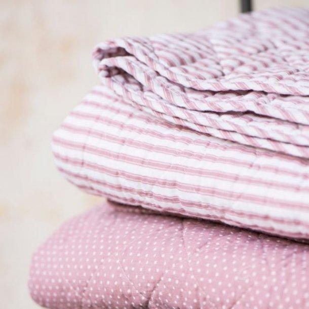Plaid / quilt med fine lyserøde striber
