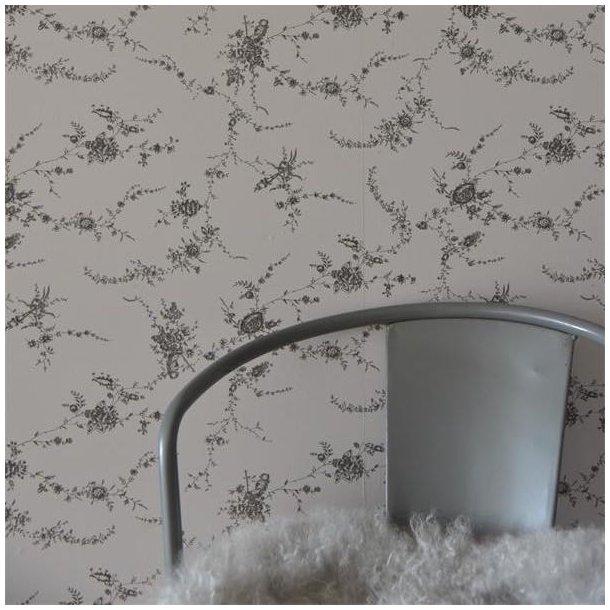Tapet - french grey - blomsterranke - EJ LAGER