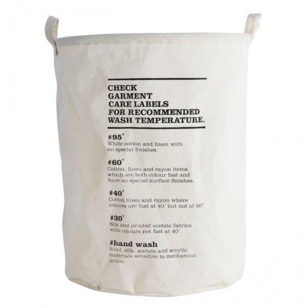 Vasketøjspose - vaskeinstruktioner - sort/hvid