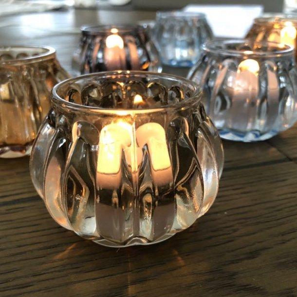 Stage i glas til fyrfadslys - lys grå