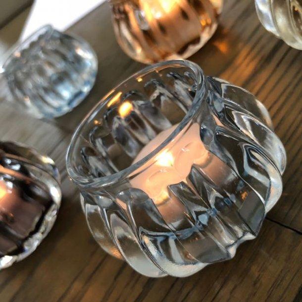 Stage i glas til fyrfadslys - lyseblå