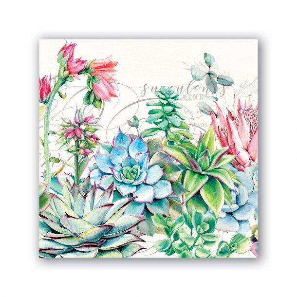 Kaffeservietter - Pink cactus - 20 stk
