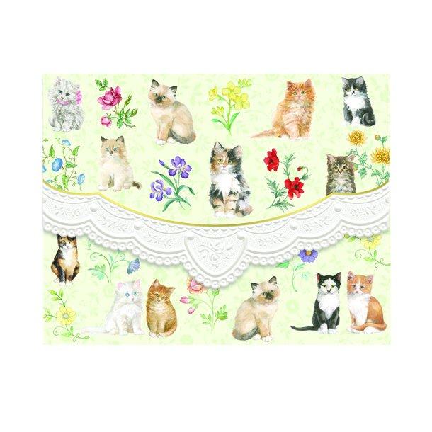Kort og kuvert - kattekillinger - 10 stk