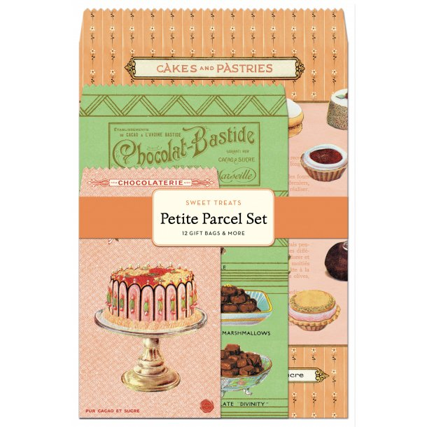 Indpakningssæt - 12 skønne papirsposer & mærker - Sweet treats