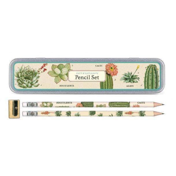 Blyanter i kaktus design - incl. blyantspidser - metalpenalhus
