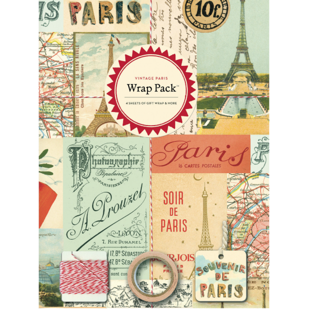 Indpakningspapir - Paris - til 4 unikke gaver