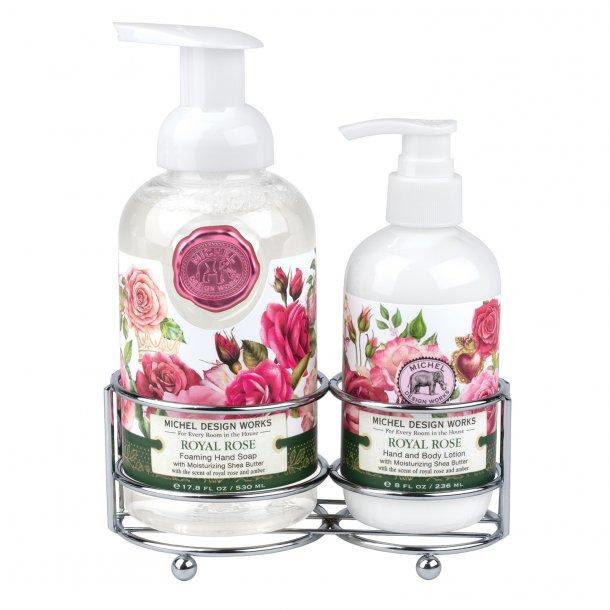 Caddy med lotion og skumhåndsæbe - Royal Rose