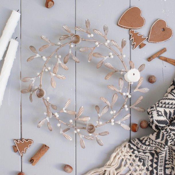 misteltenkrans til 4 lys advent messing med perler. Black Bedroom Furniture Sets. Home Design Ideas