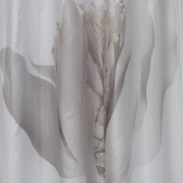 Badeforhæng i skøn kvalitet - lys grå blomst