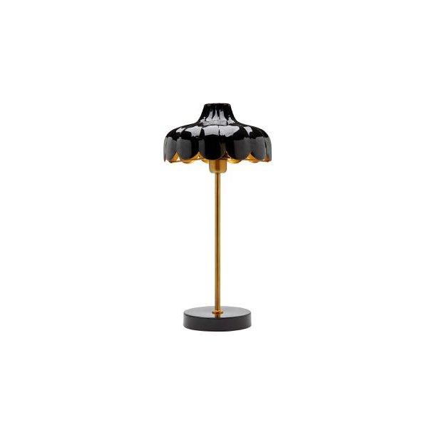 Bordlampe - blomsterfacon og håndlavet - sort