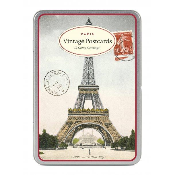 Kort med glimmer - Paris - 12 stk i metalæske
