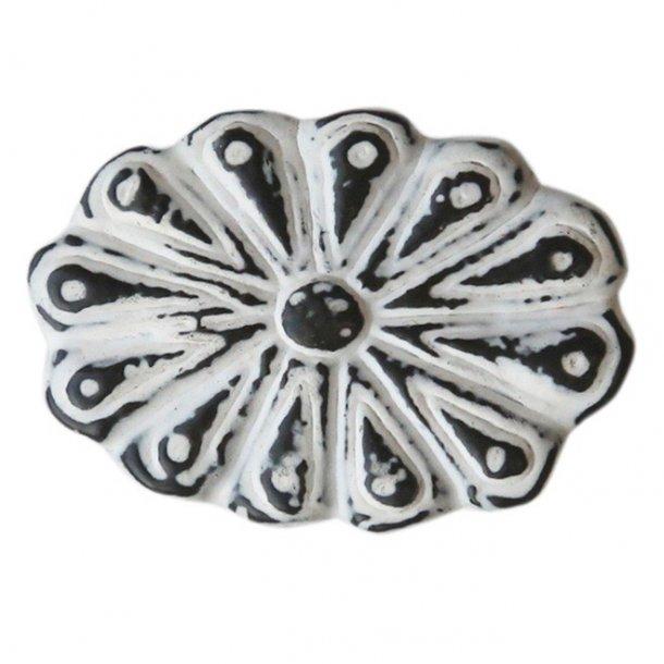 Håndlavet metalgreb med super fin patina - hvid