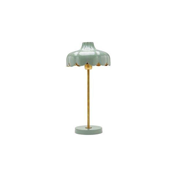 Håndlavet bordlampe i metal - blomsterfacon - grøn