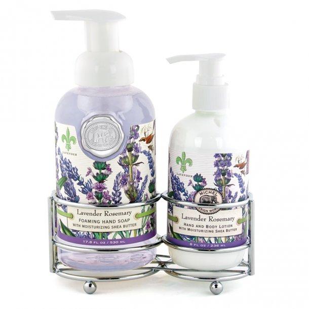 Caddy med lotion og skumhåndsæbe - Lavender Rosemary