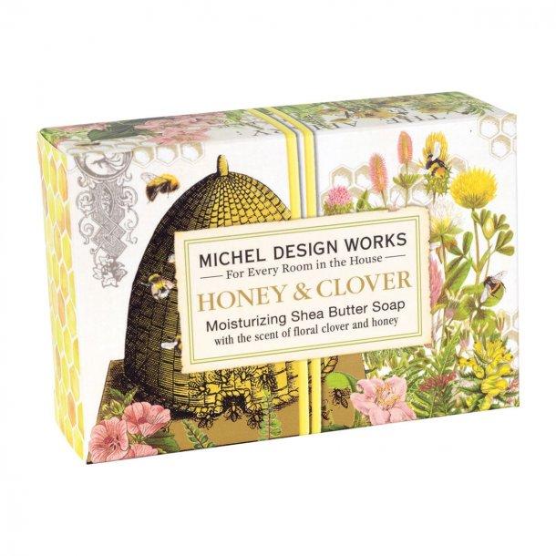 Lækkert stykke håndsæbe i flot æske - Honey & clover