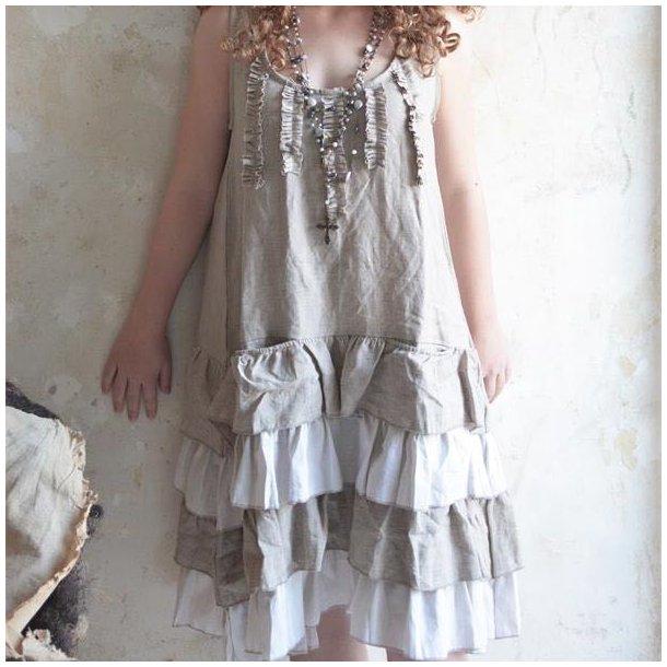 Hørkjole med flæser  - Vintage Clothing