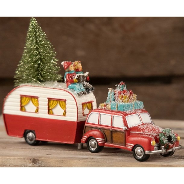 Julebil med campingvogn - skøn unik julepynt - nostalgisk jul