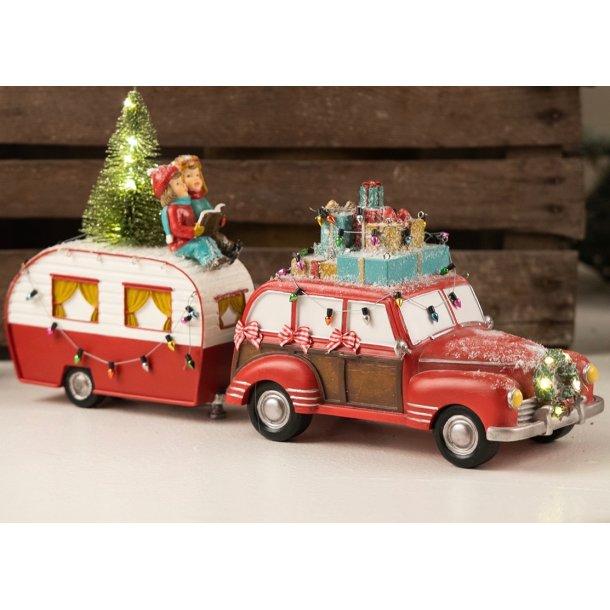 Julebil med campingvogn og LED lys - skøn unik julepynt - nostalgisk jul