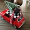 Julebil mini cooper - Driving home for christmas - rød