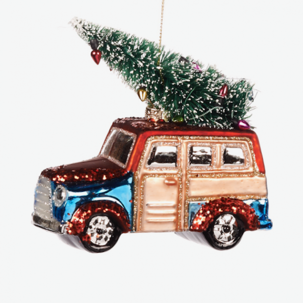 Julebil med pyntet juletræ - unik nostalgisk julepynt