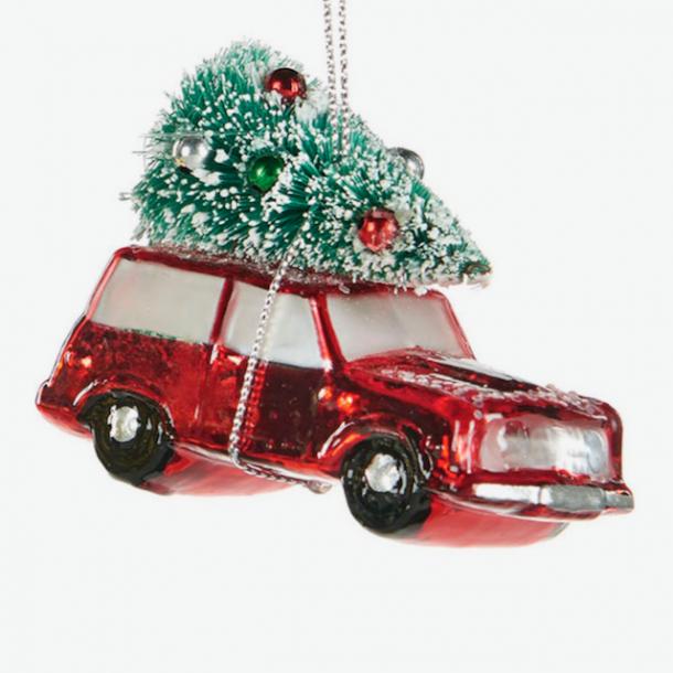 Julekugle - julebil med juletræ - rød - unik julepynt