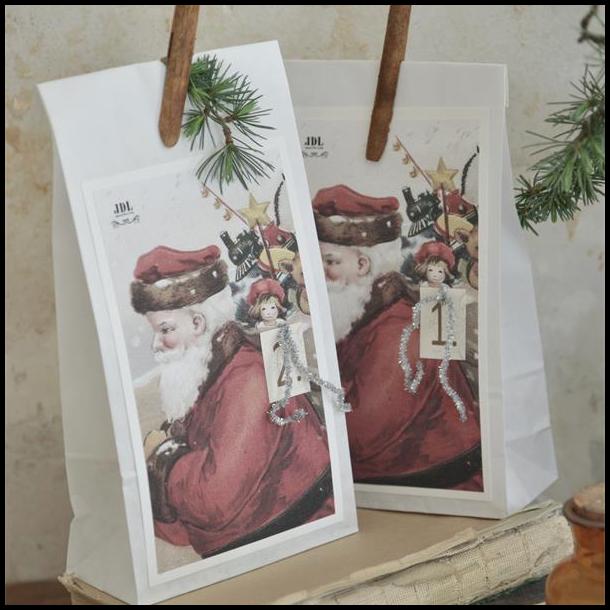 Adventsposer med julemand - 4 stk