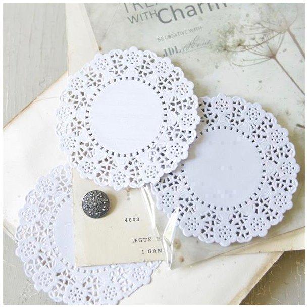 Kageservietter i hvidt papir - super flotte til kreative projekter - 100 stk.