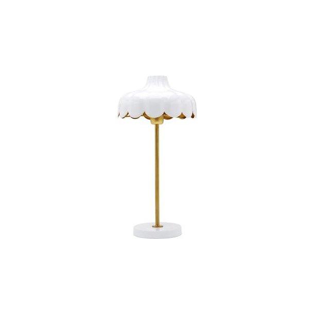 Håndlavet bordlampe - blomsterfacon - hvid