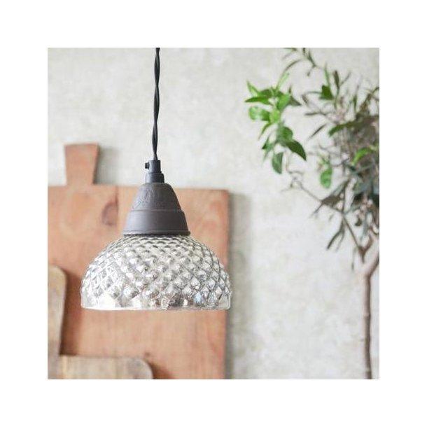 Loftlampe med skærm i smuk fattigmandssølv