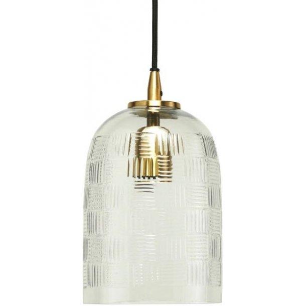 Loftlampe i håndslebet glas med fint mønster