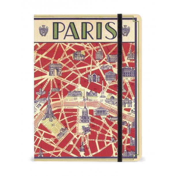 Notesbog - Paris kort - med elastiklukning
