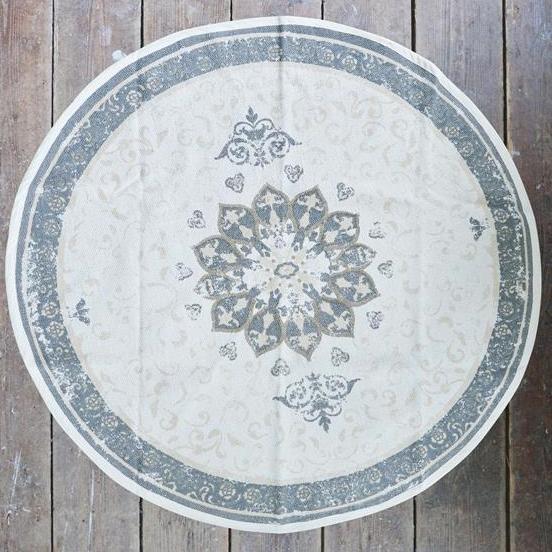 Rundt gulvtæppe med afdæmpet blomstermønster - dusty flower - Jeanne d'Arc Living - Vintage ...