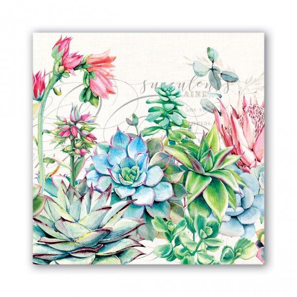 Lunch servietter - Pink cactus - smuk borddækning - 20 stk